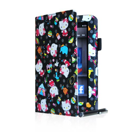 Kindle Fire PU Leather Hello Kitty Folio Case Cover Car Charger Stylus