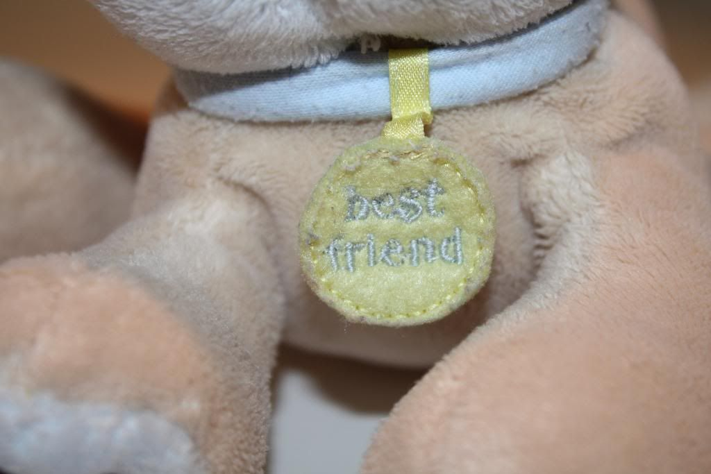 Koala Baby Plush Dog Best Friend Tag Tan Blue 8 Chime Rattle Lovey