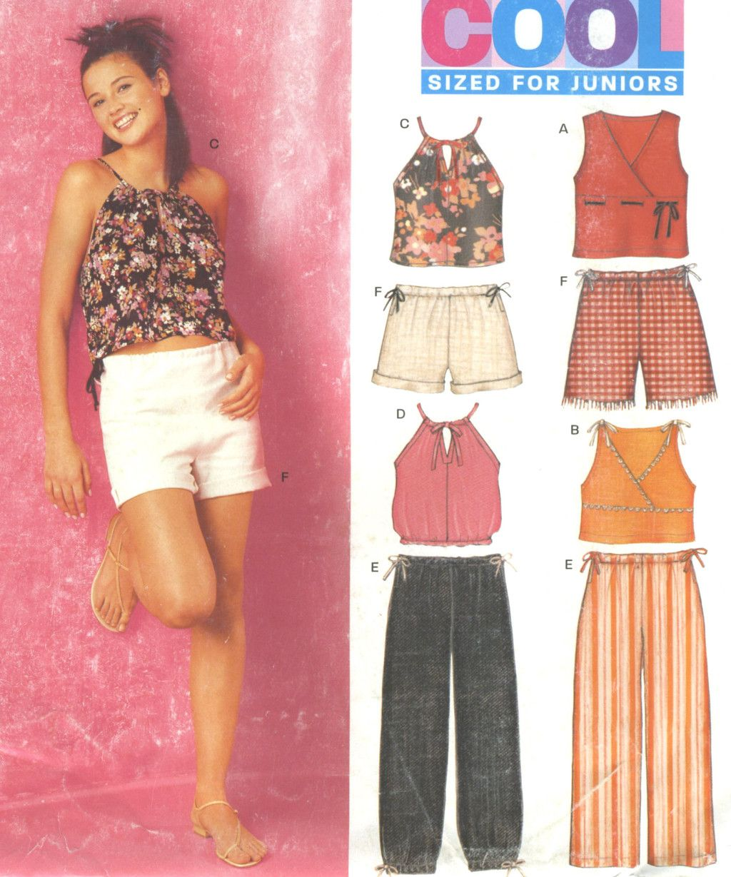 Junior Knit Top Below Waist Pants Shorts Sewing Pattern Drawstring
