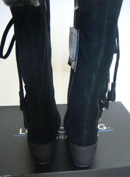 London Fog Black Faux Fur Lace Up Lauren Waterproof Suede Leather