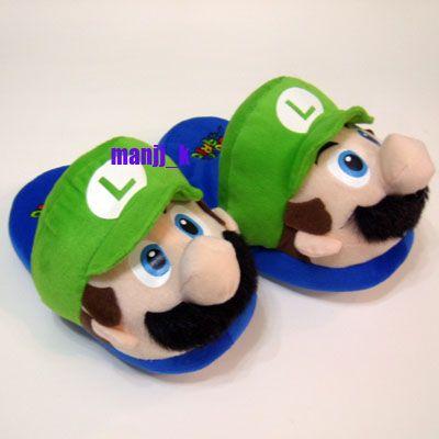 New Super Mario Bro Luigi Doll Plush Slipper Kid