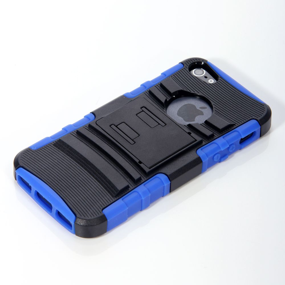 For iPhone 5 Rigid Hard Case Cover Stand Holster Accessory Blue