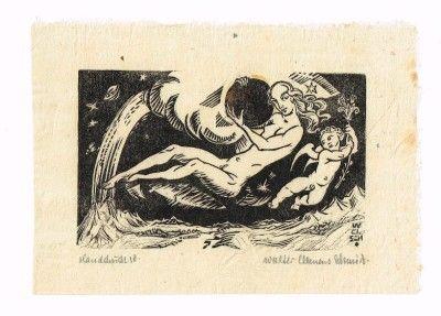 Libris German Artist Walter C. Schmidt Original Woodcut Cherubs Angels