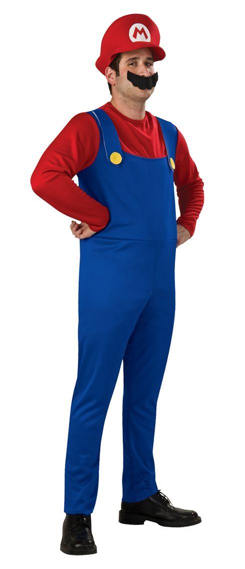 Official Super Mario Luigi Bros Mens Boys 80s Game Fancy Dress