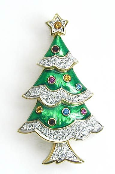 Swarovski Crystal Rhinestone Christmas Tree Brooch Pin Mint