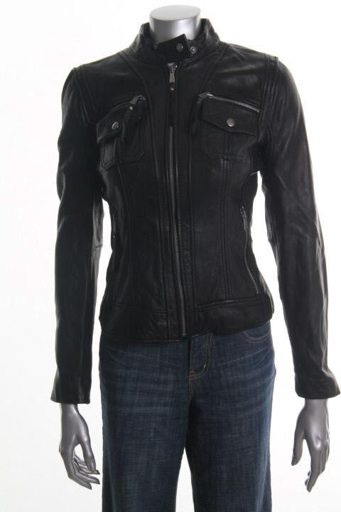 Michael Kors New Black Leather Zipper Front Motorcycle Jacket XS BHFO