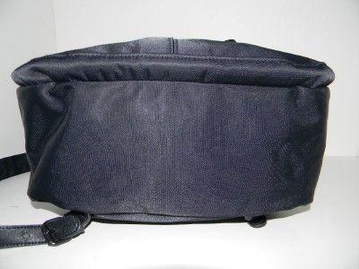 Michiko London Large Black Nylon Leather Backpack Purse Handbag
