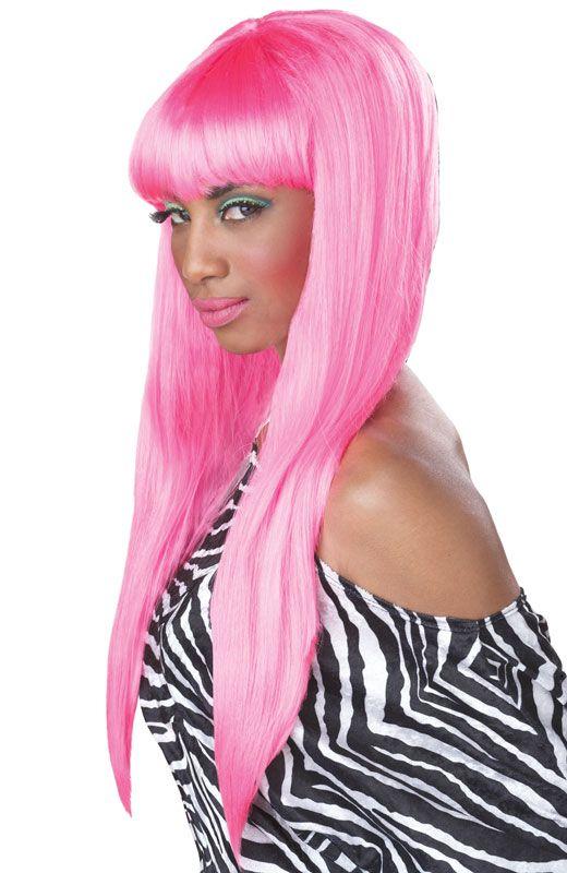 Sexy Nicki Minaj Bubble Gum Halloween Costume Wig Hot Pink