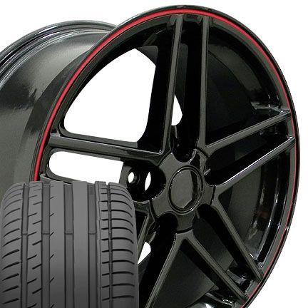 10 5 Black Corvette C6 Z06 Style Wheels Tires Rims Fit Camaro