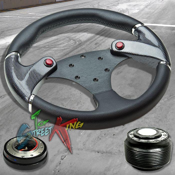 320mm CARBON SIM BLACK RACE STEERING WHEEL+ HUB + QUICK RELEASE ACCORD