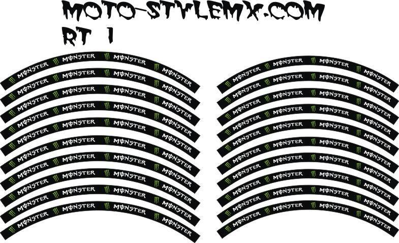 KXF KLX CR CRF RM RMZ DRZ KTM 125 250 450 Rim Stickers Graphics