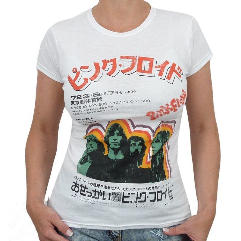 Pink Floyd   Japanese Band Girlie Shirt, white
