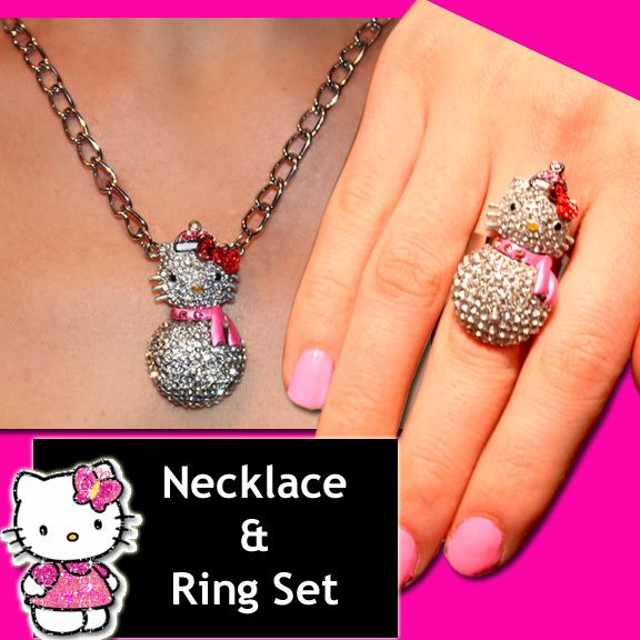 CUTE HELLO KITTY CRYSTAL SNOWMAN NECKLACE & RING SET ♡