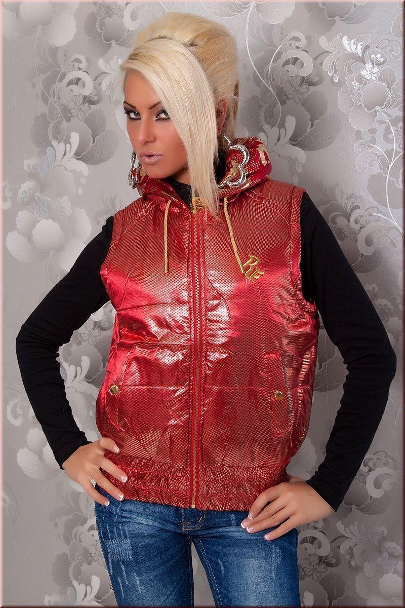 Rot Gold Farbene Damen Weste mit Kapuze in Wende Optik